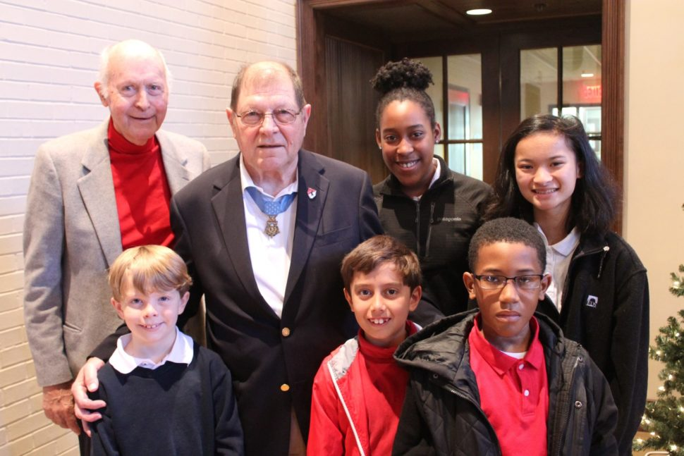 Gen. Perry Smith and Lt. Col. Hal Fritz with students whose family members are currently serving in the US Armed Forces.