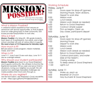 Mission: Possible, Service Weekend