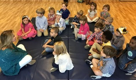 Episcopal Day School (EDS) students on mat.